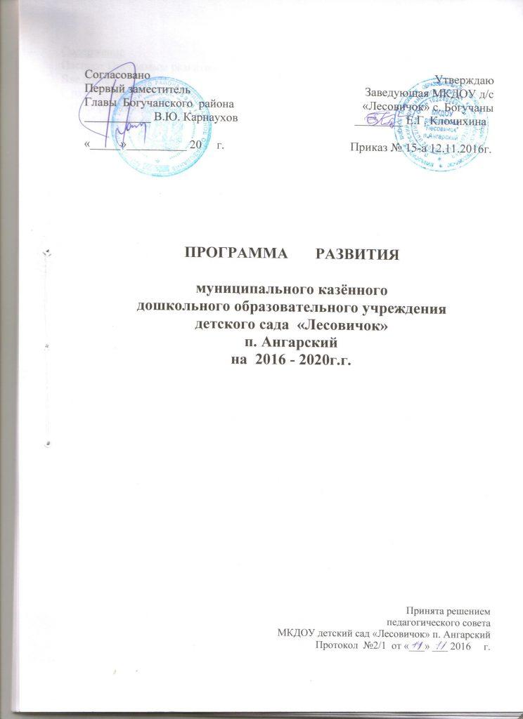 1 лист Программа развития на 2016-2020 гг.